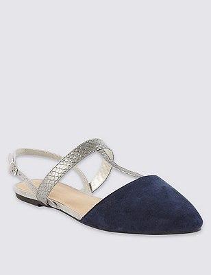 T-Bar Slingback Court Shoes with Insolia Flex®, BLUE MIX, catlanding