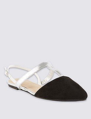 T-Bar Slingback Court Shoes with Insolia Flex®, BLACK MIX, catlanding