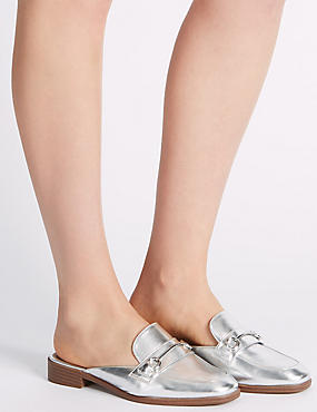 Block Heel Trimmed Mule Shoes, SILVER, catlanding