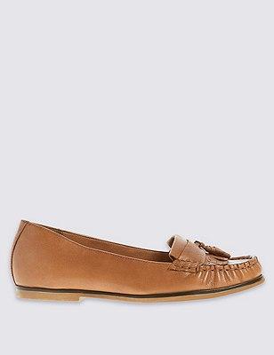 Leather Fringe Trim Loafer with Insolia Flex®, TAN, catlanding