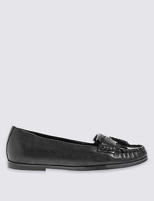 Leather Fringe Trim Loafer with Insolia Flex®, BLACK, catlanding