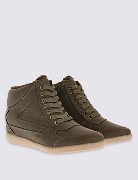 Wedge High Top Trainers with Insolia™, KHAKI, catlanding