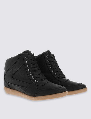 Wedge High Top Trainers with insolia™, BLACK, catlanding