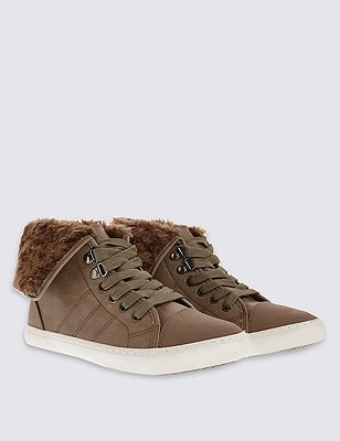 Lace Up High Top Trainers with Insolia Flex®, MINK, catlanding