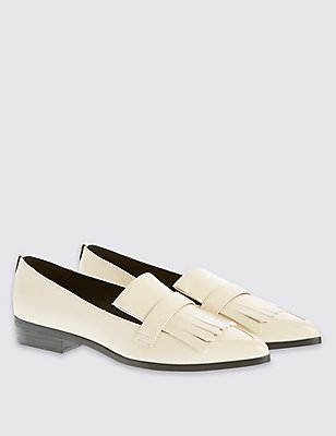 Fringe Pointed Loafers with Insolia Flex®, CREAM, catlanding