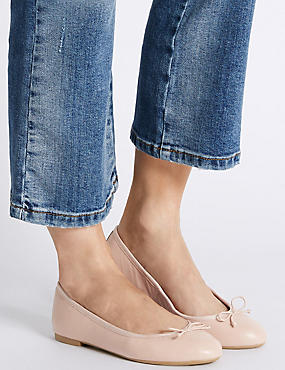 Leather Low Heel Ballerina Pumps, NUDE, catlanding