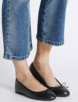 Leather Low Heel Ballerina Pumps, BLACK, catlanding