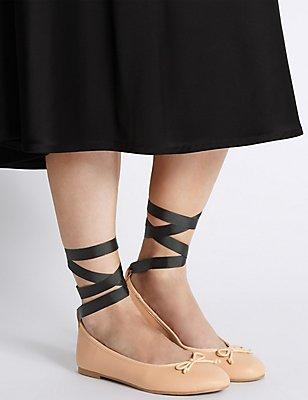 Ankle Tie Ballet Pumps , NUDE, catlanding