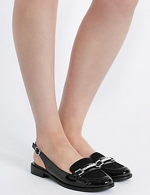 Block Heel Slingback Loafers , BLACK, catlanding