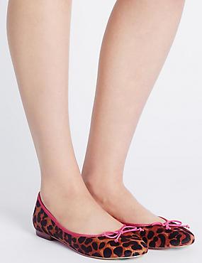 Leather Leopard Print Pump Shoes, BROWN MIX, catlanding