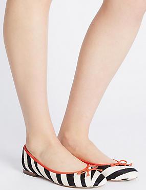 Leather Zebra Print Pump Shoes, BLACK/WHITE, catlanding