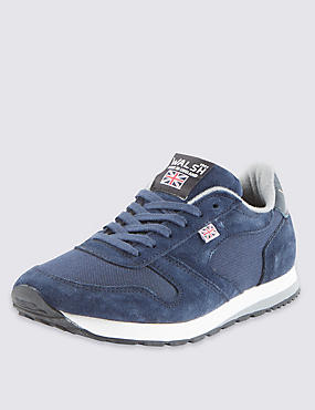 Suede Lace Up Trainers, NAVY, catlanding