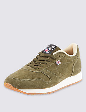 Suede Lace Up Trainers, KHAKI, catlanding