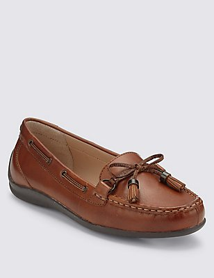 Leather Tassel Boat Shoes with Footglove™, TAN, catlanding