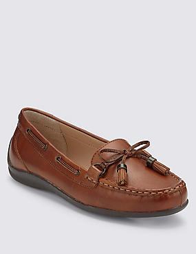 Leather Tassel Flat Boat Shoes, TAN, catlanding