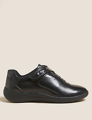 Leather Wedge Heel Sporty Riptape Trainers, BLACK, catlanding