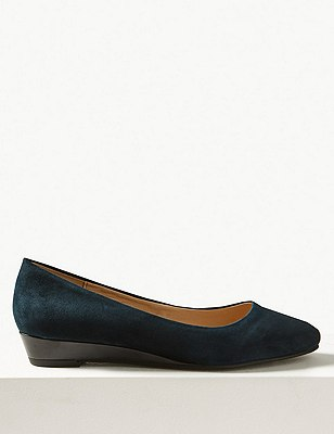 Smart Wedge Pump Shoes, NAVY MIX, catlanding
