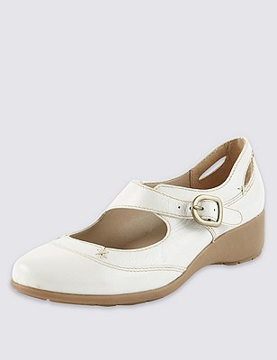 Leather Cut-Out Dolly Court Shoes, WHITE MIX, catlanding