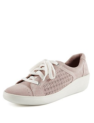 Suede Stain Away™ Punch Hole Trainers, BLUSH, catlanding