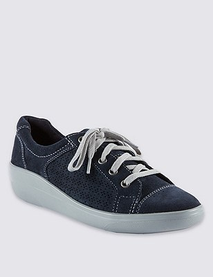 Suede Stain Away™ Punch Hole Trainers, NAVY, catlanding