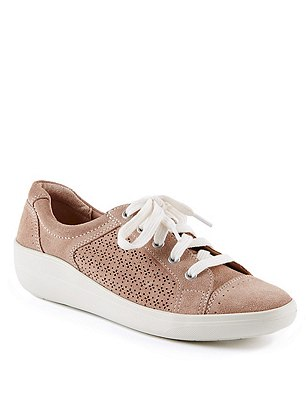 Suede Stain Away™ Punch Hole Trainers, NEUTRAL, catlanding