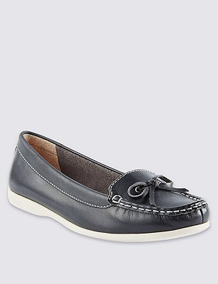 Leather Boat Shoes, NAVY, catlanding