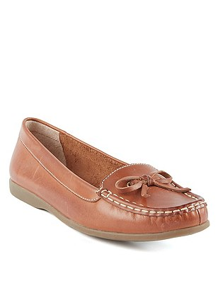 Leather Boat Shoes, TAN, catlanding