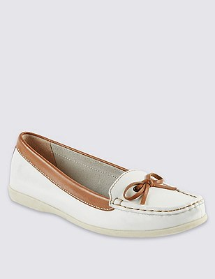 Leather Boat Shoes, WHITE MIX, catlanding