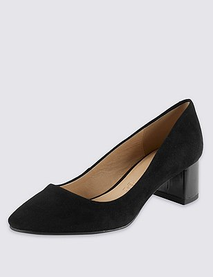 Suede Stain Away™ Court Shoes, BLACK, catlanding