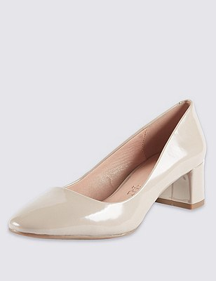 Leather Almond Toe Court Shoes, NEUTRAL, catlanding
