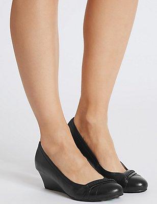 Leather Wedge Heel Pleated Pump Shoes, BLACK, catlanding