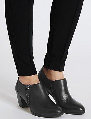 Leather Angular Heel Shoe Boots, BLACK, catlanding