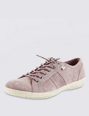 Stain Away™ Suede Cut-Out Floral Lace Up Wedge Trainers, BLUSH, catlanding