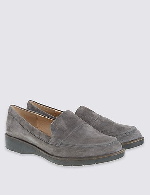 Leather Modern Loafer with Footglove™, CHARCOAL, catlanding