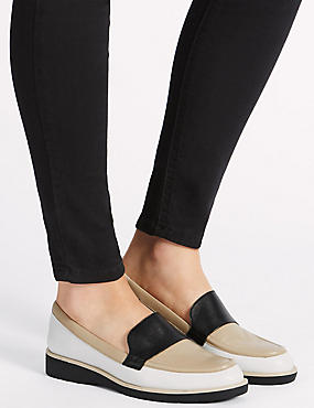 Leather Block Heel Loafers, NEUTRAL, catlanding