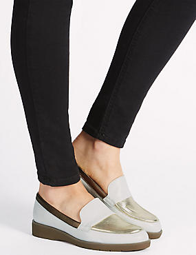 Leather Block Heel Loafers, METALLIC, catlanding