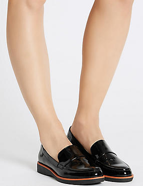 Leather Block Heel Loafers with Footglove™, BLACK PATENT, catlanding