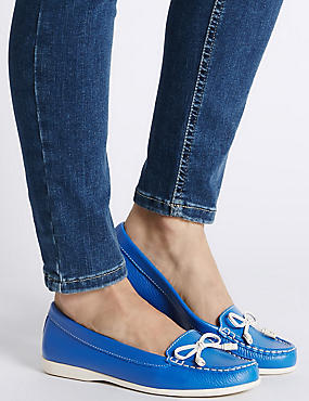 Leather Bow Boat Shoes, BLUE, catlanding