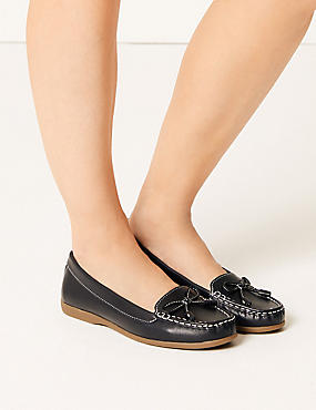 Leather Bow Boat Shoes, NAVY, catlanding