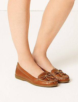 Leather Low Heel Bow Boat Shoes, TAN, catlanding