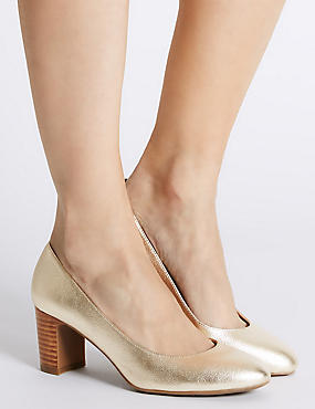 Leather Mid Heel Almond Toe Court Shoes, GOLD, catlanding