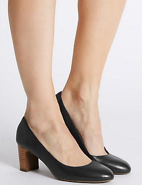 Leather Mid Heel Almond Toe Court Shoes, BLACK, catlanding