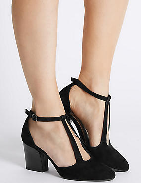 Suede Angular Buckle Two Part Court Shoes, BLACK MIX, catlanding