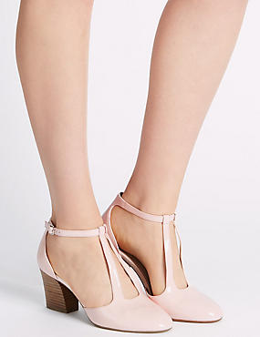 Leather Angular Buckle Two Part Court Shoes, BLUSH, catlanding