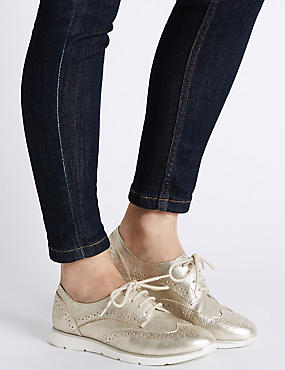 Leather Sporty Lace-up Trainers , GOLD, catlanding