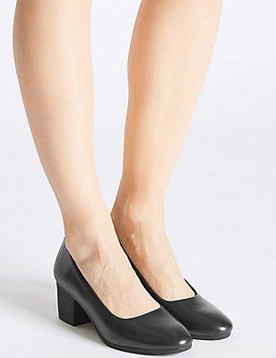 Leather Crepe Effect Court Shoes, BLACK, catlanding