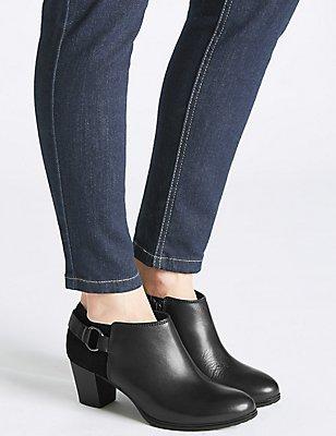Leather Block Heel Side Zip Shoe Boots, BLACK, catlanding