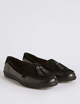 Leather Tassel Slip-on Pump Shoes, BLACK MIX, catlanding