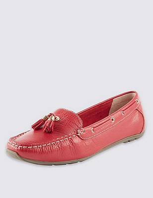 Leather Wide Fit Tassel Boat Shoes, RED, catlanding