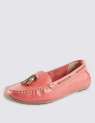 Leather Wide Fit Tassel Boat Shoes, CORAL, catlanding